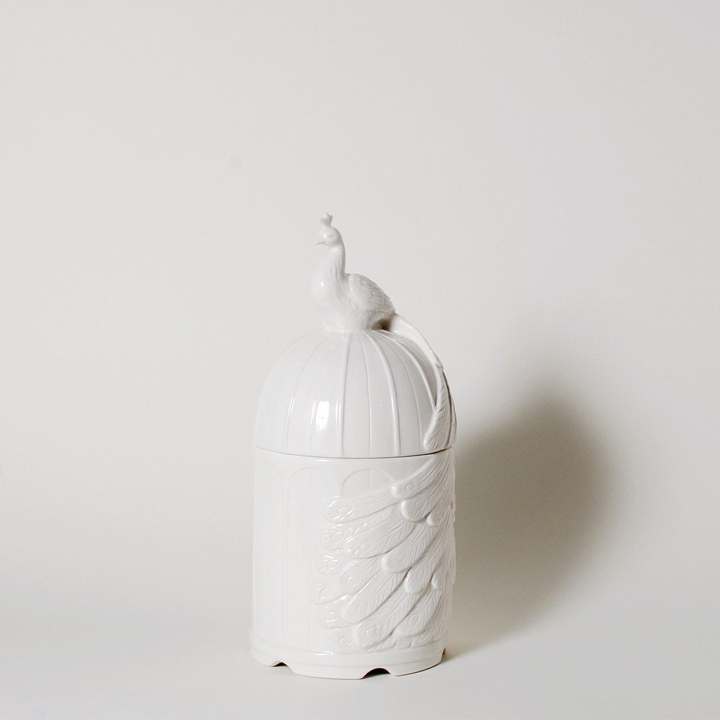 Imm In Full Plume Peacock Ceramic Canister