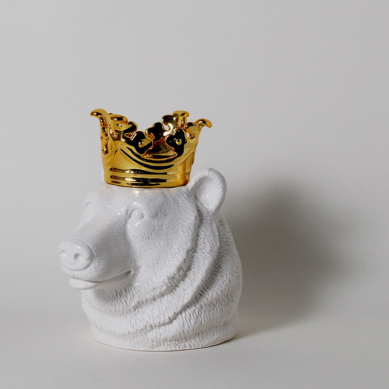 Imm Crowned Heads Bear Ceramic Canister