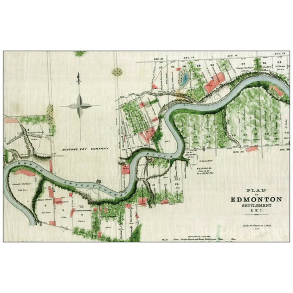 Vivid Print Plan of Edmonton 1883 Postcard