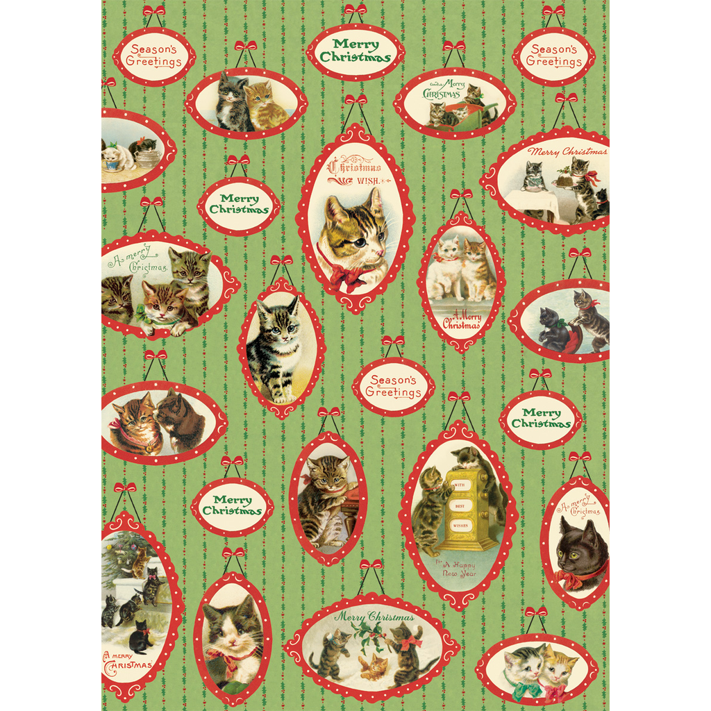 Cavallini Christmas Cats Wrap Sheet