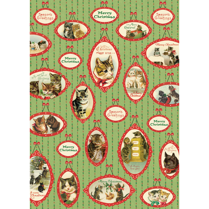 Cavallini Christmas Cats Wrap Sheet