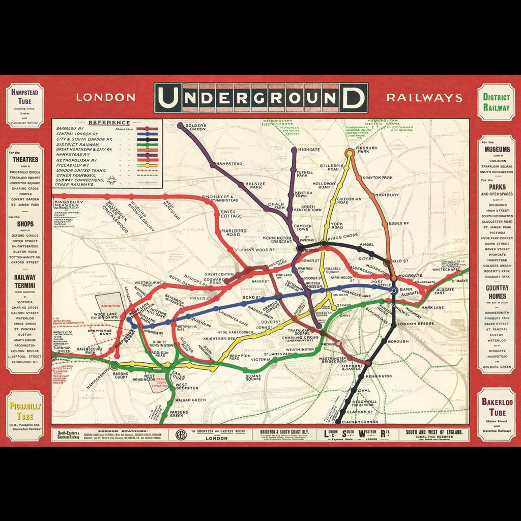 Cavallini London Underground Map 2 Wrap Sheet
