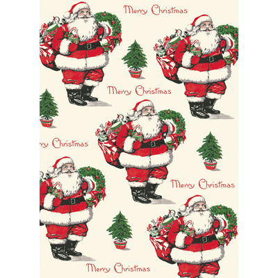 Cavallini Merry Christmas Santa Wrap Sheet