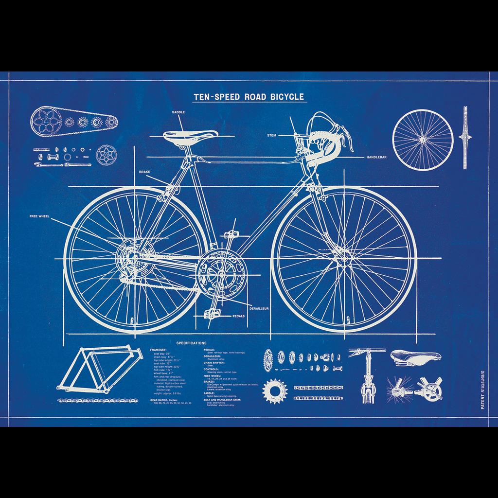 Cavallini Bicycle Blueprint Wrap Sheet