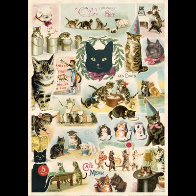 Cavallini Cat Collage Wrap Sheet