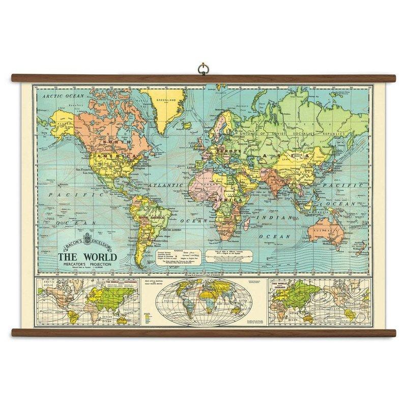 Cavallini World Map School Chart