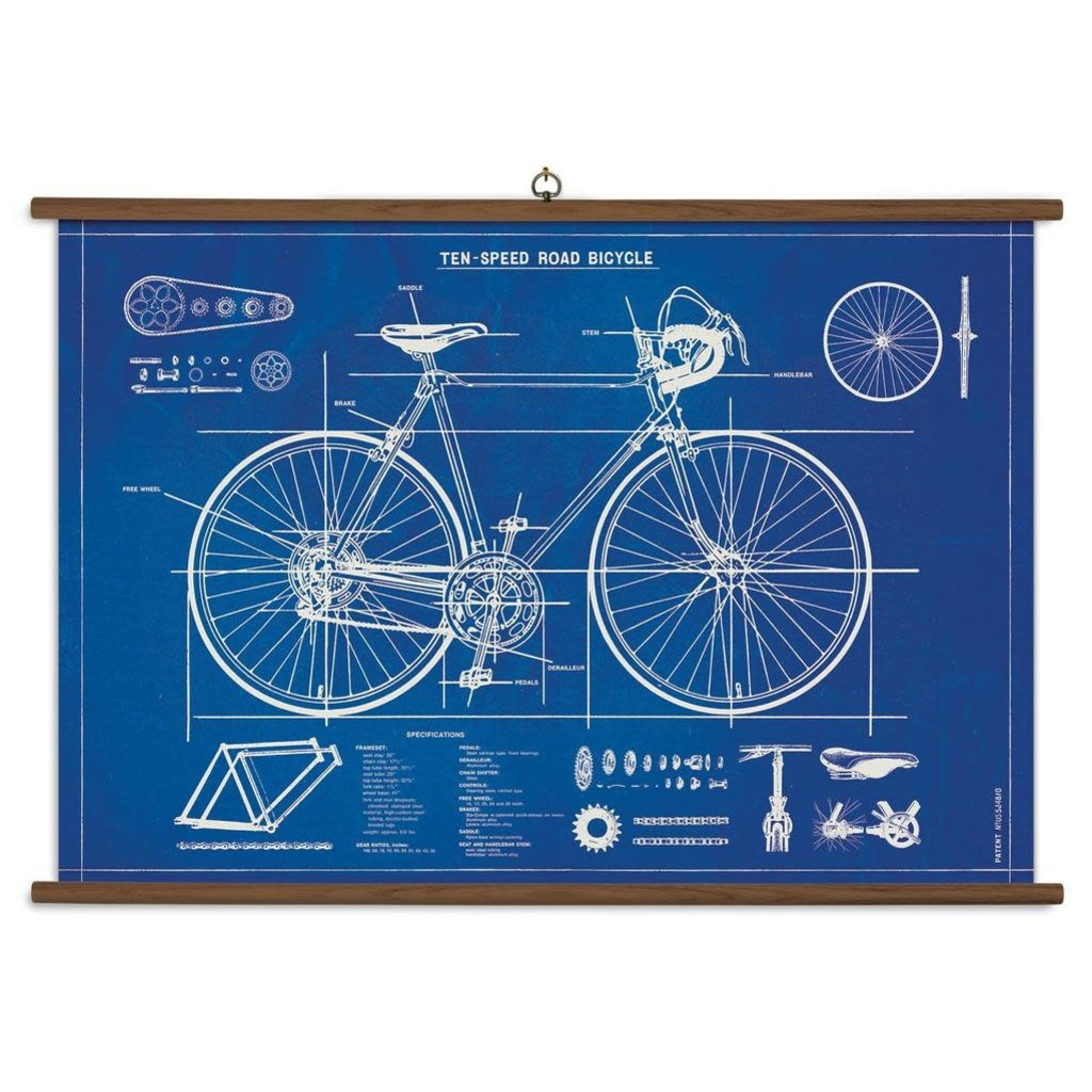 Cavallini Bicycle Blueprint School Chart