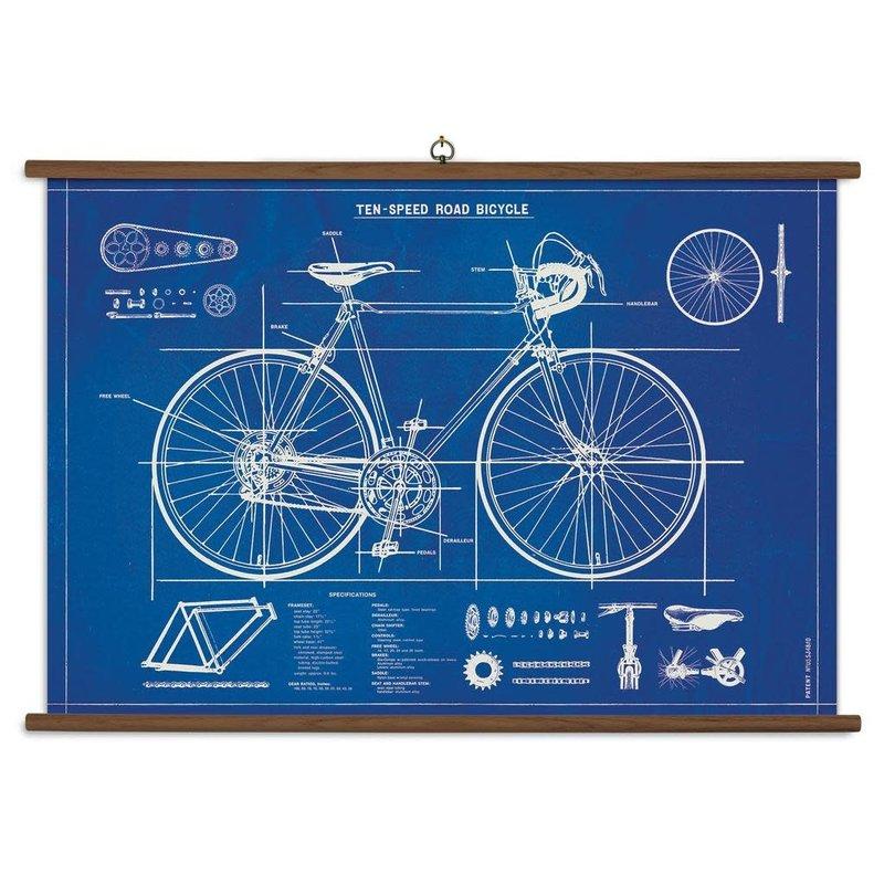 Cavallini Bicycle Blueprint School Chart