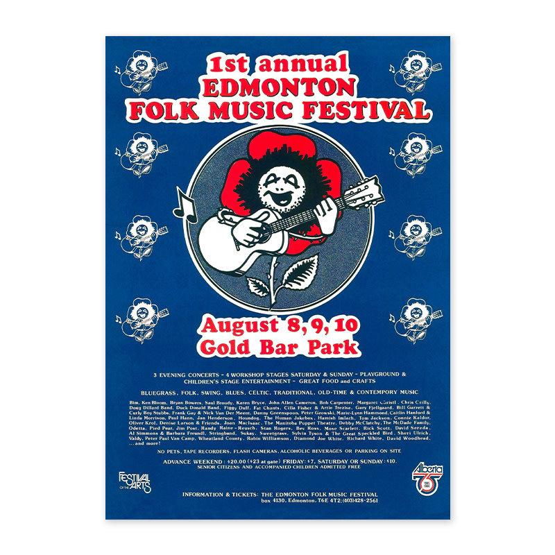 Vivid Print Edmonton Folk Music Festival 1980 Poster