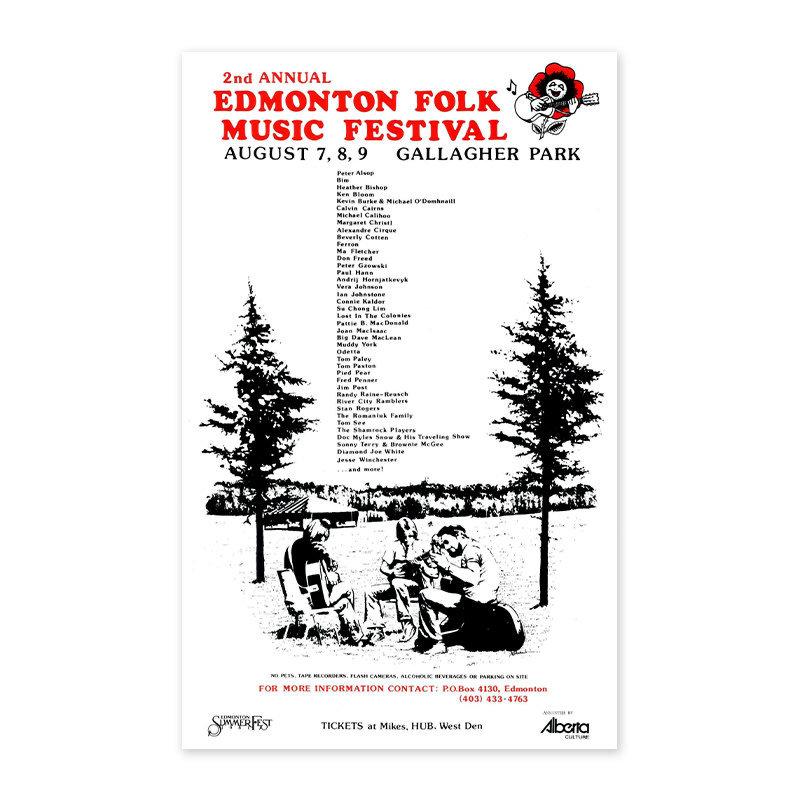 Vivid Print Edmonton Folk Music Festival 1981 Poster