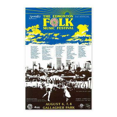 Vivid Print Edmonton Folk Music Festival 1982 Poster