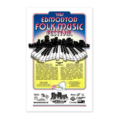 Vivid Print Edmonton Folk Music Festival 1987 Poster