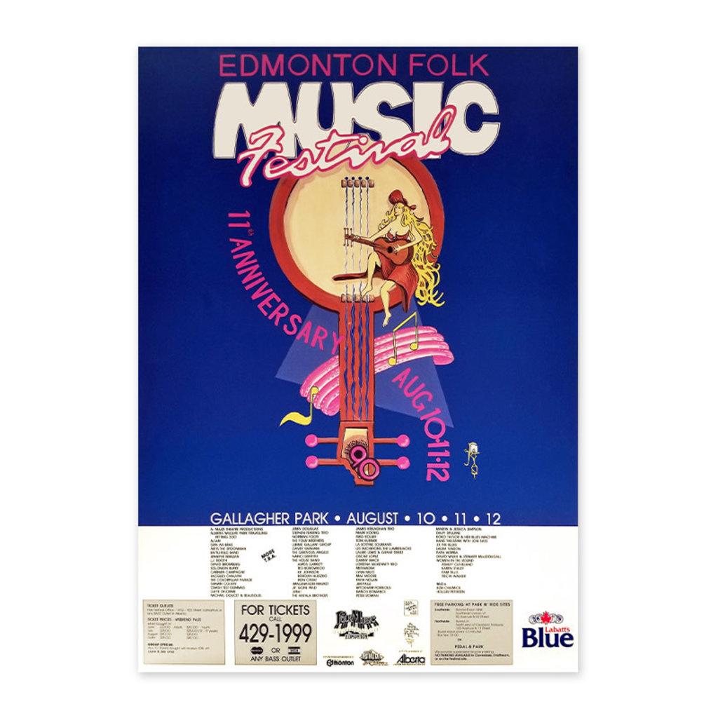 Vivid Print Edmonton Folk Music Festival 1990 Poster