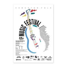 Vivid Print Edmonton Folk Music Festival 1991 Poster