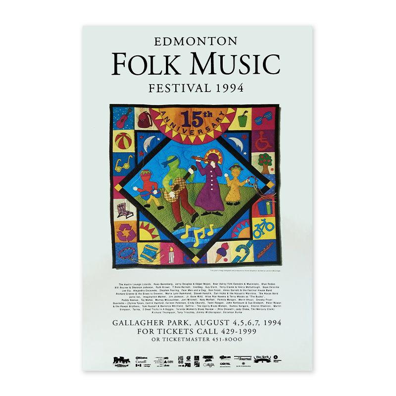 Vivid Print Edmonton Folk Music Festival 1994 Poster