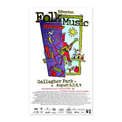 Vivid Print Edmonton Folk Music Festival 1998 Poster