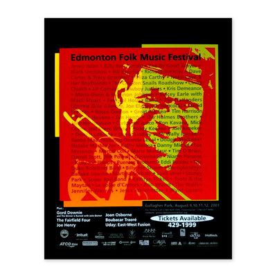 Vivid Print Edmonton Folk Music Festival 2001 Poster