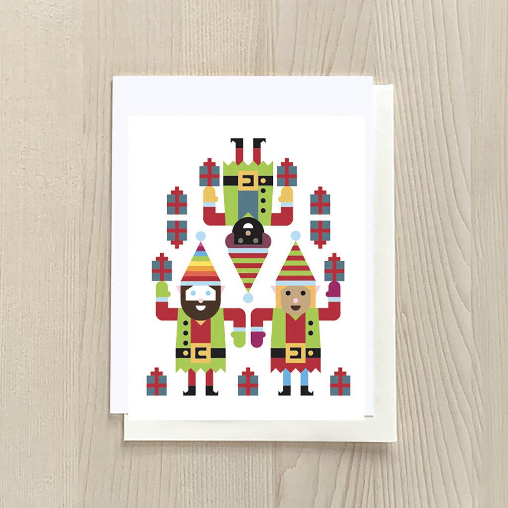 Vivid Print Elf Trio Box Of Six Cards