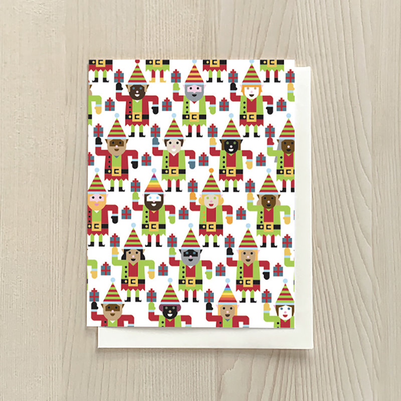Vivid Print Multi-Elf Box Of Six Cards