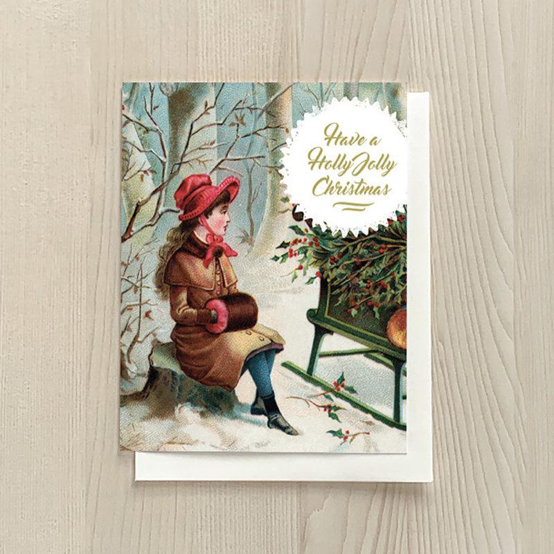 Vivid Print Holly Jolly Girl Box Of Six Cards