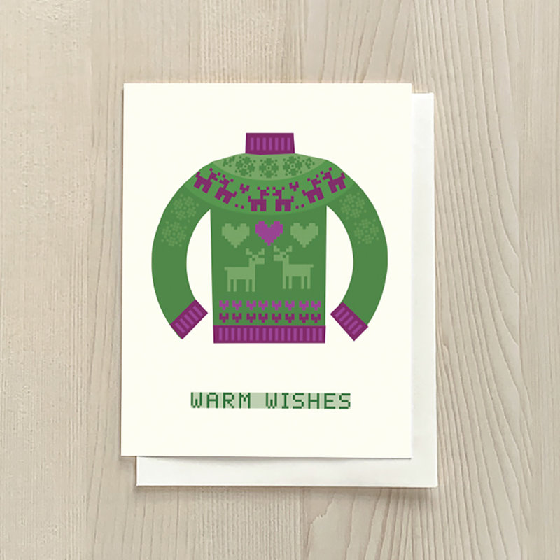 Vivid Print Warm Wishes Sweater Box Of Six Cards