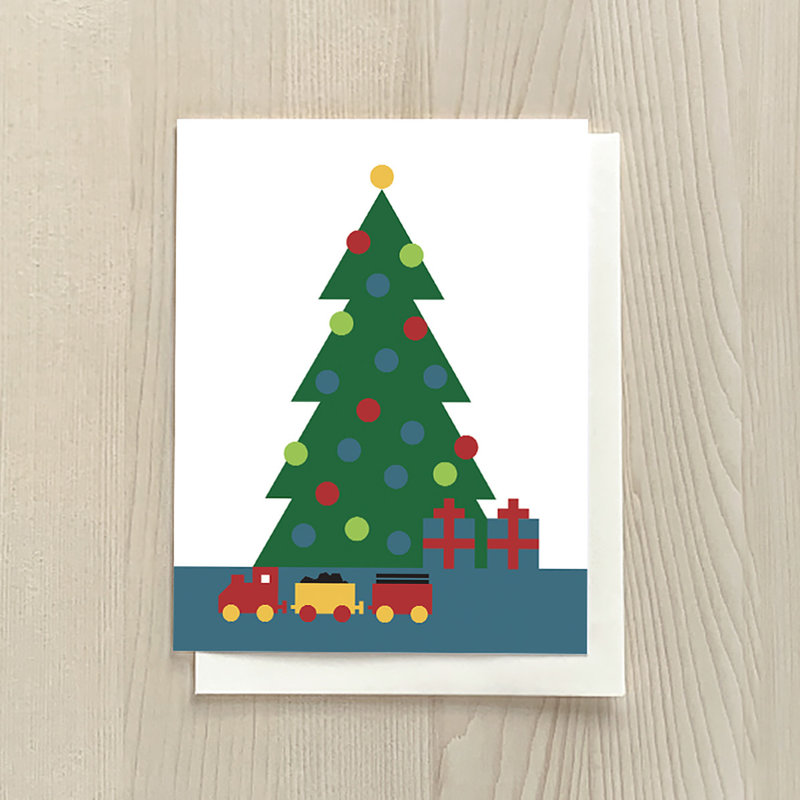 Vivid Print Christmas Tree Box Of 6 Cards