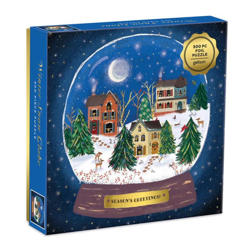 Galison Mudpuppy Winter Snow Globe 500 Pc Puzzle