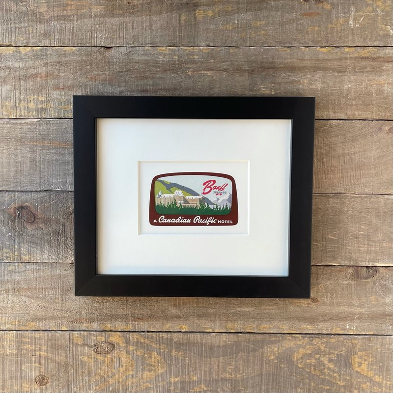 Vivid Vintage Canadian Pacific Banff Springs Hotel Framed Vintage Luggage Label
