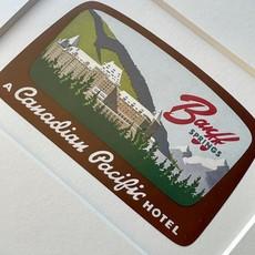 Vivid Vintage Canadian Pacific Banff Springs Hotel Framed Vintage Luggage Label