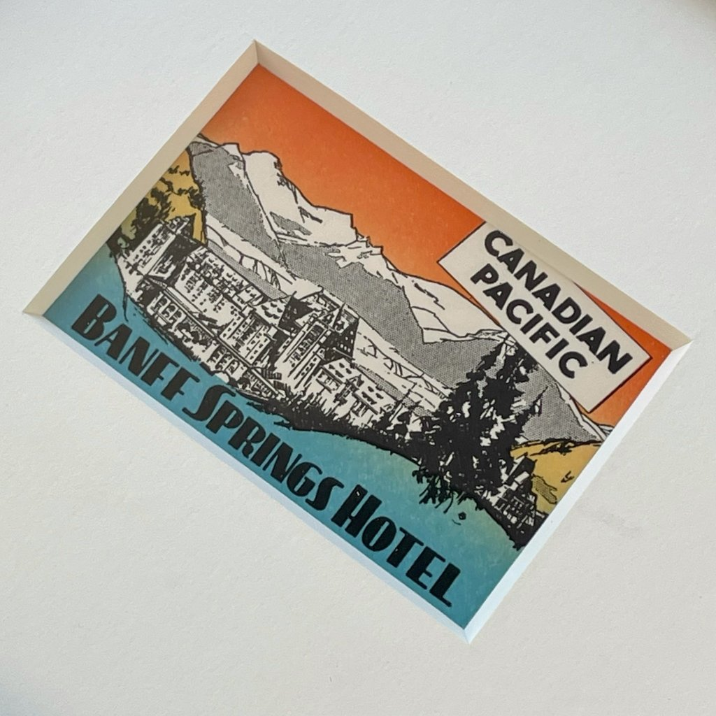 Vivid Vintage CP Banff Springs Hotel Framed Vintage Luggage Label