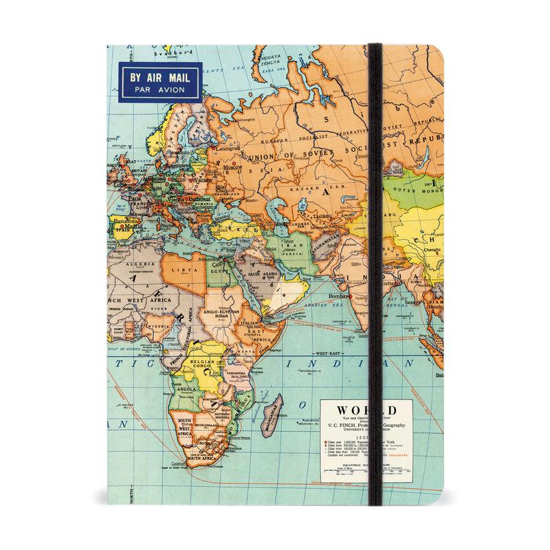 Cavallini World Map 2 Large Notebook