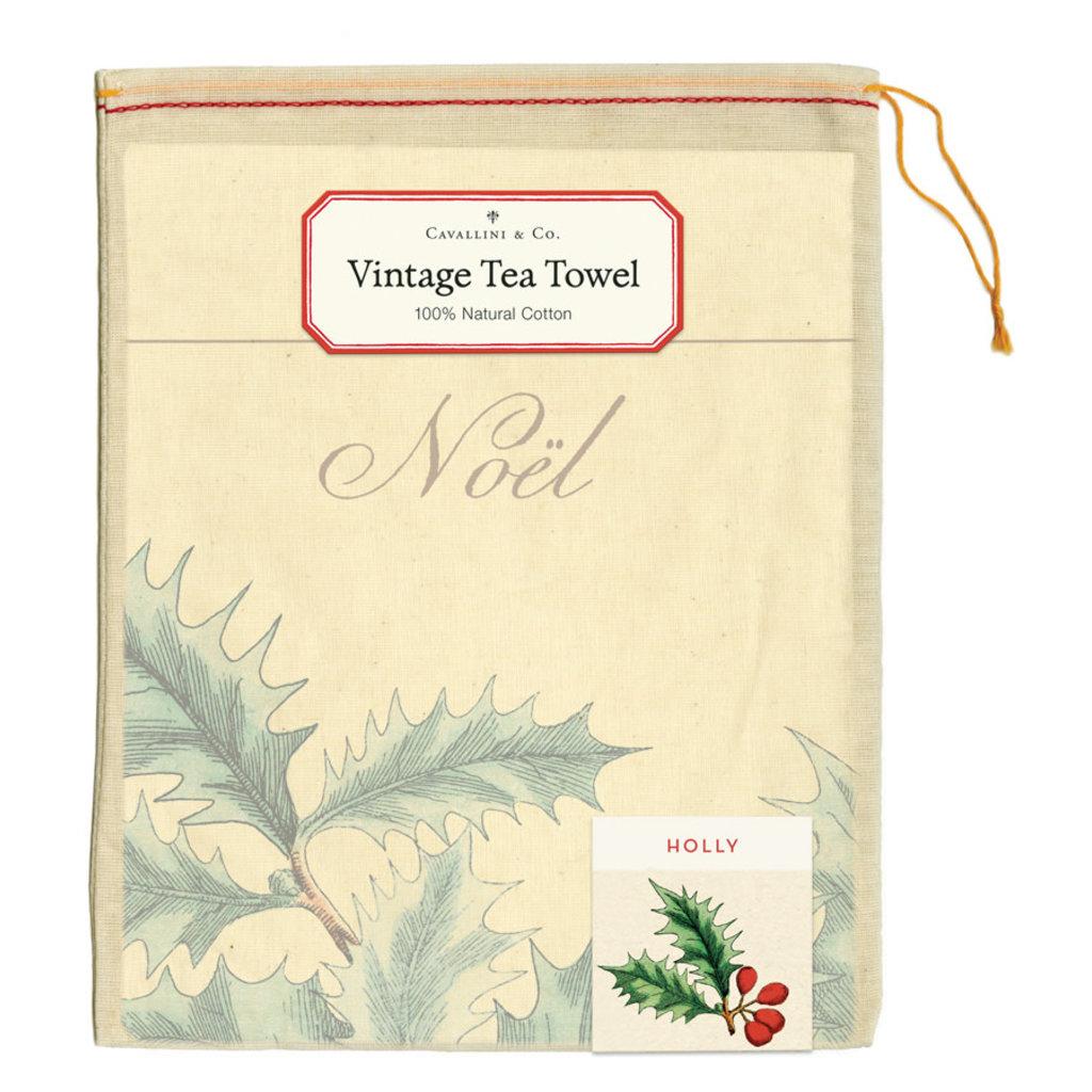 Cavallini Holly Tea Towel