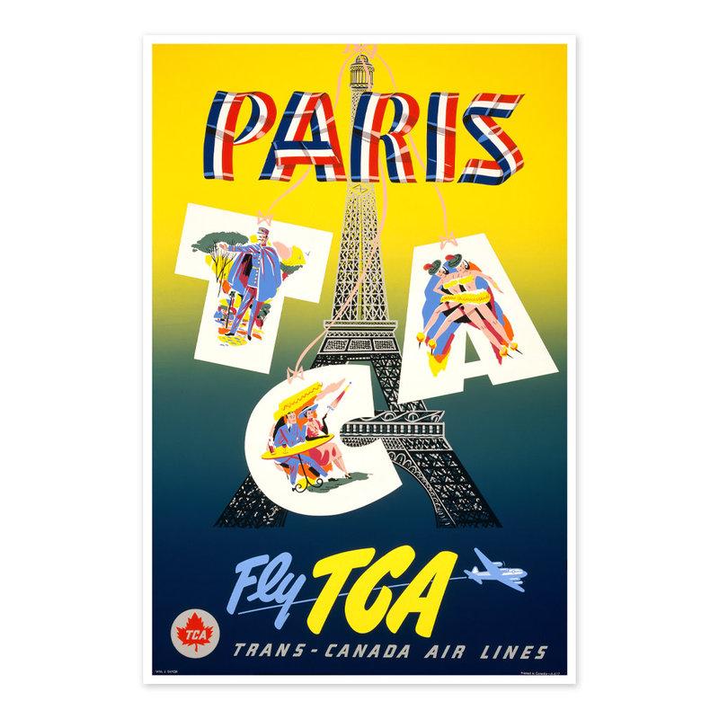 Vivid Print Paris - fly TCA, Trans-Canada Air Lines