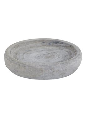 Distressed Wooden Bowl - Grey Lg