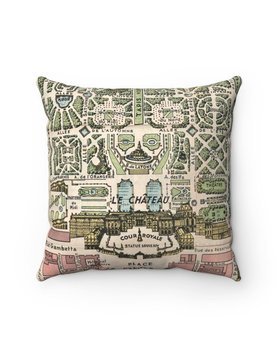 Palace of Versailles France Map Pillow - Cover Only