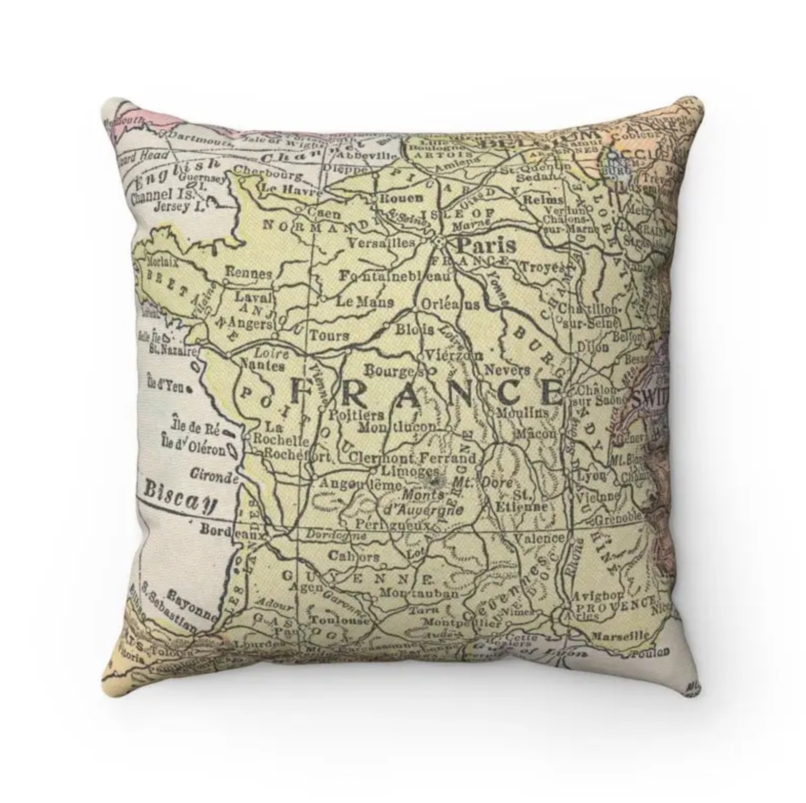 France Map Pillow - Cover Only