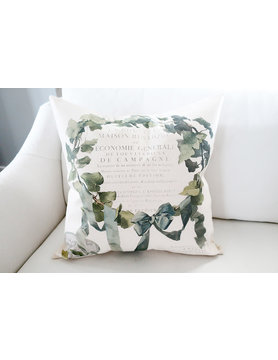 French Ivy Wreath Pillow - Cover Only