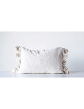 Woven Cotton Pillow with Tassels