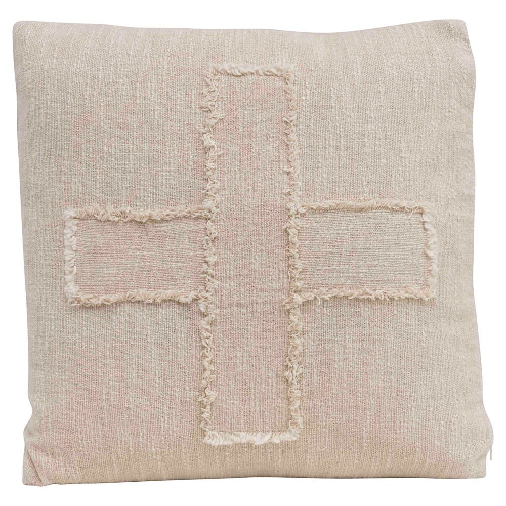 """Swiss Cross 20"""" Square Woven Pillow - Natural"""