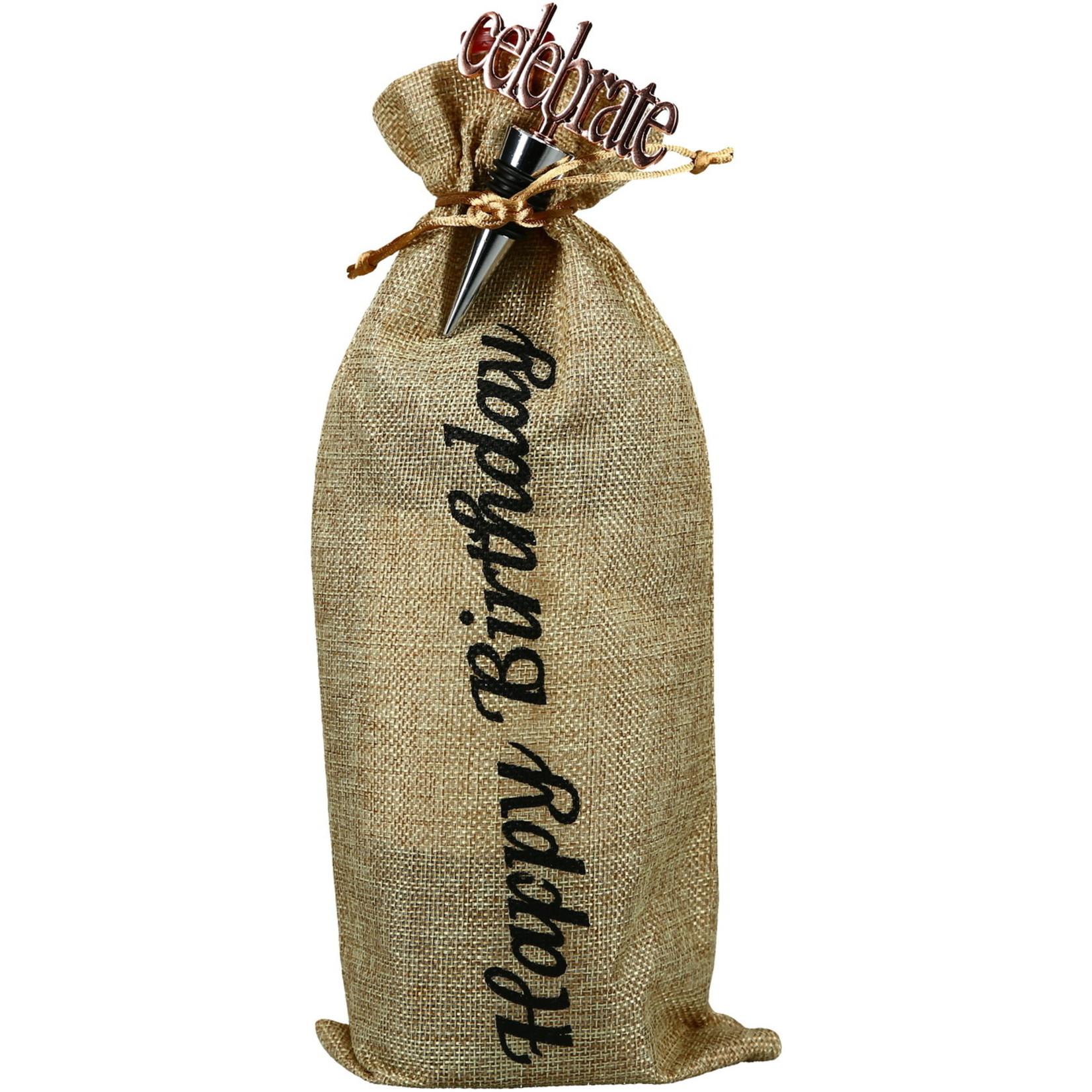 Pavilion Gift Co. Barware: Happy Birthday- Wine Gift Bag Set