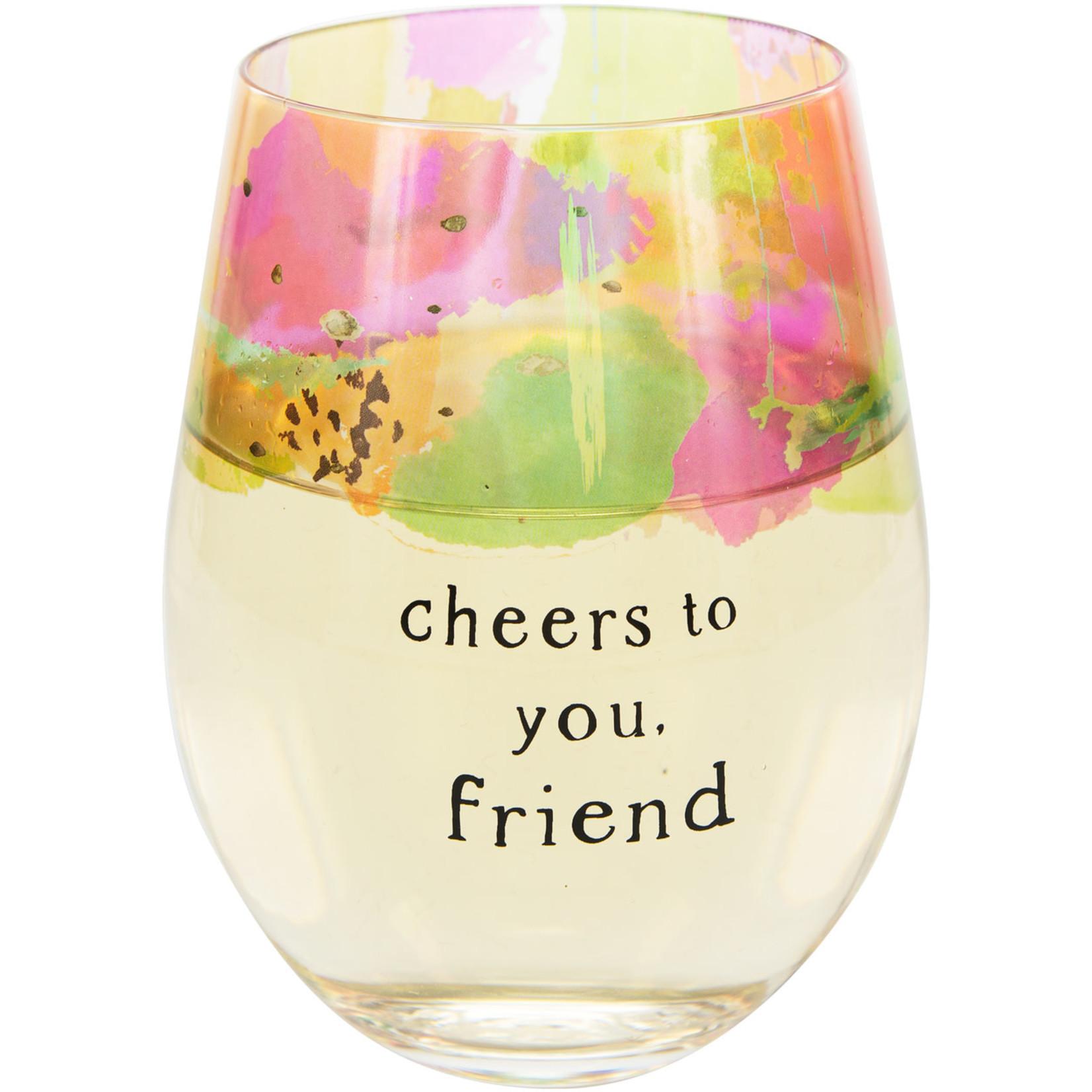 Pavilion Gift Co. Glass: Friend- 18oz. Stemless Wine Glass