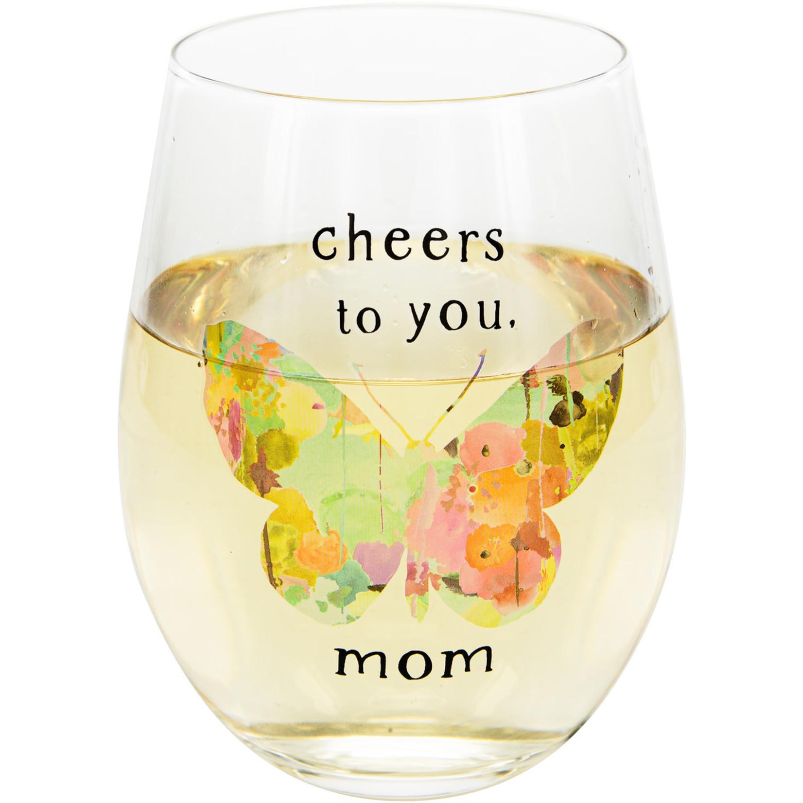 Pavilion Gift Co. Glass: Mom- 18oz. Stemless Wine Glass