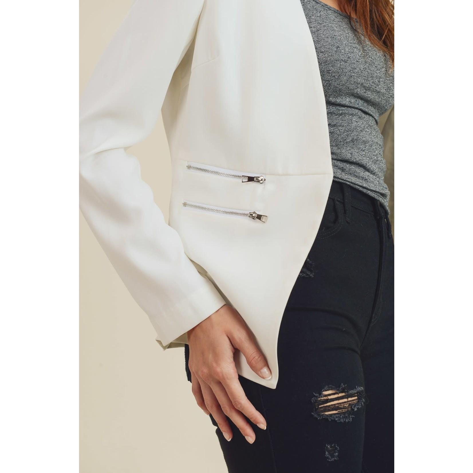 Doe & Rae Off White Zipper Detail Blazer