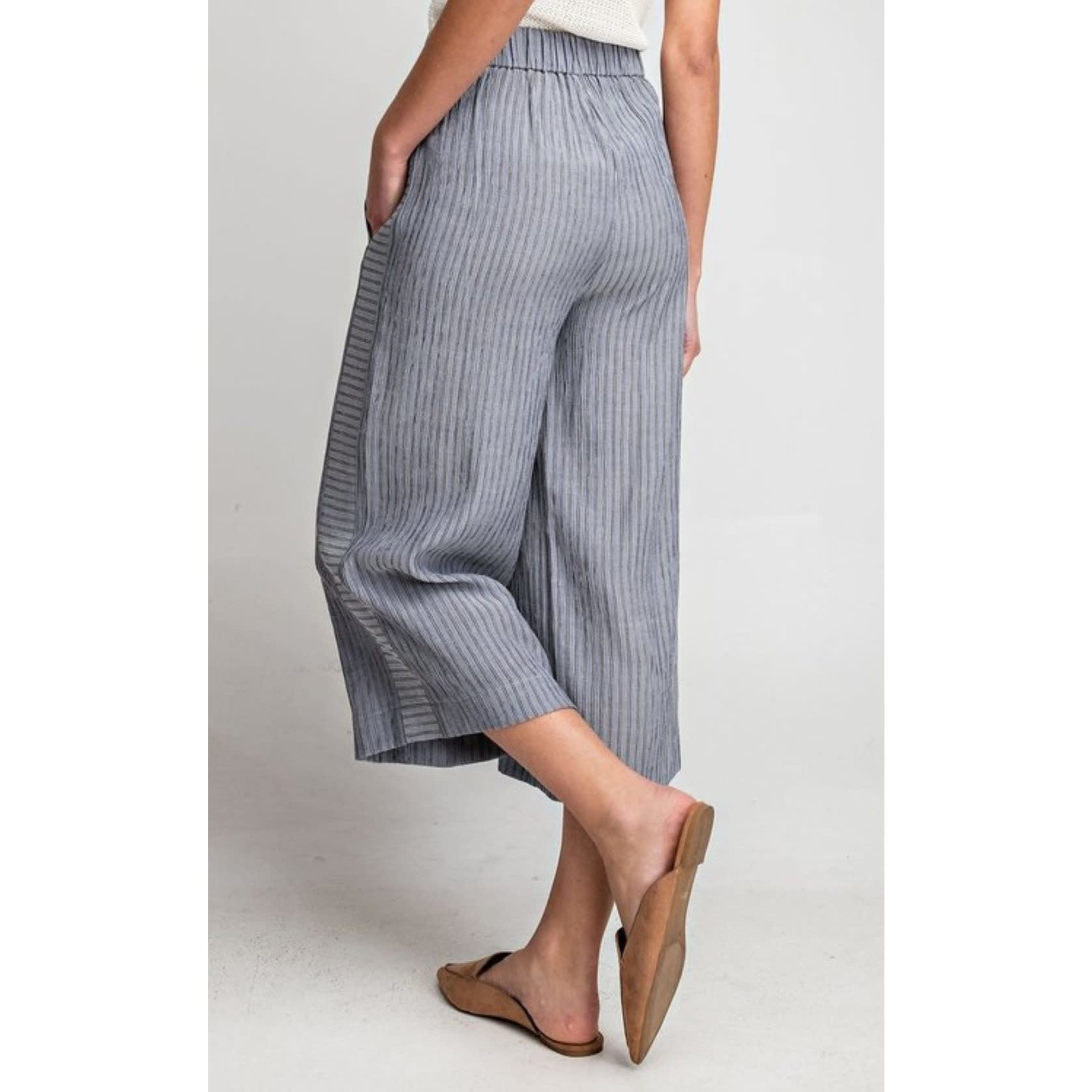 EE:Some Denim Blue Pin Striped Cropped Pants