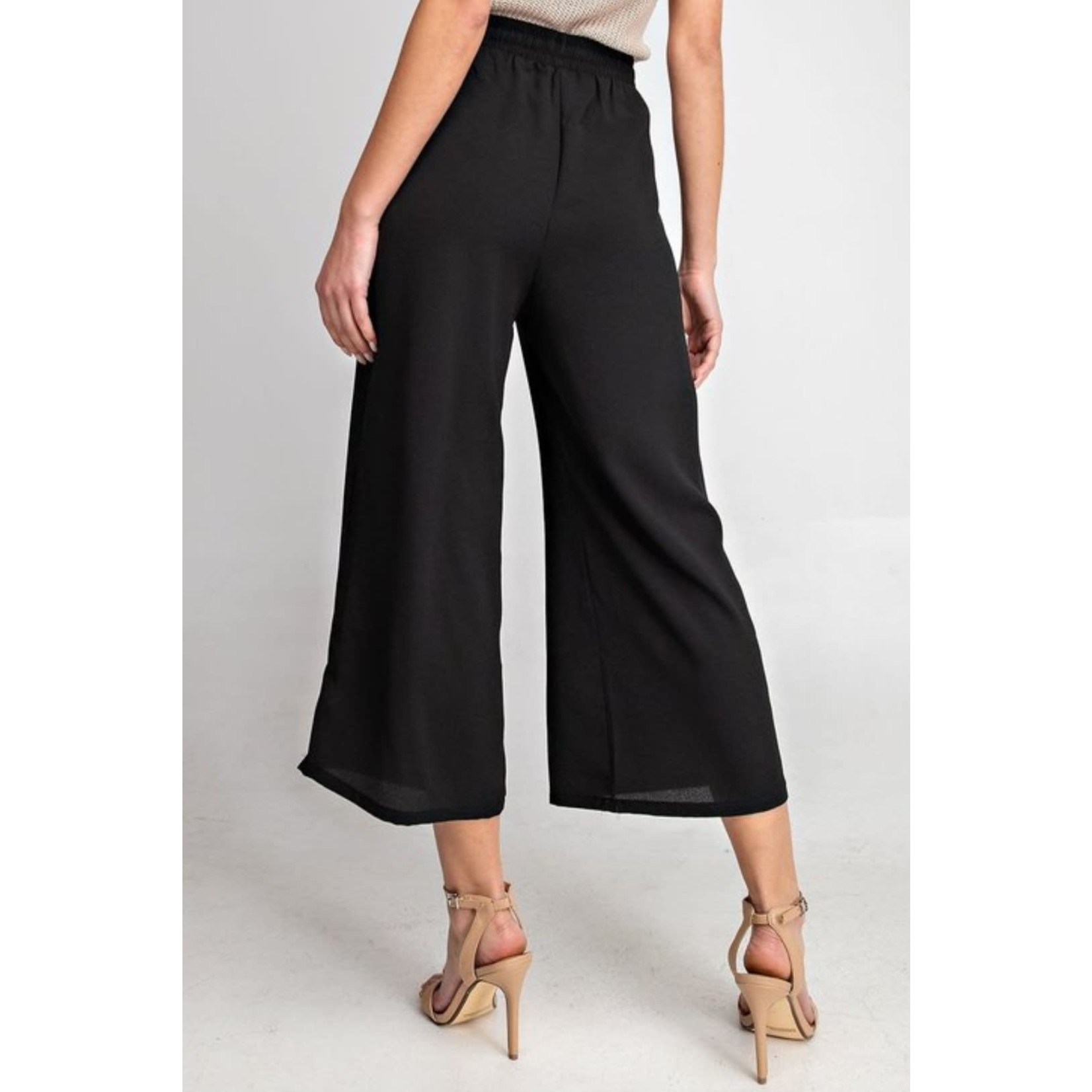 EE:Some Black High Waisted Woven Wide Leg Pants