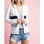 EE:Some Cardigan: Navy Striped Button-Up