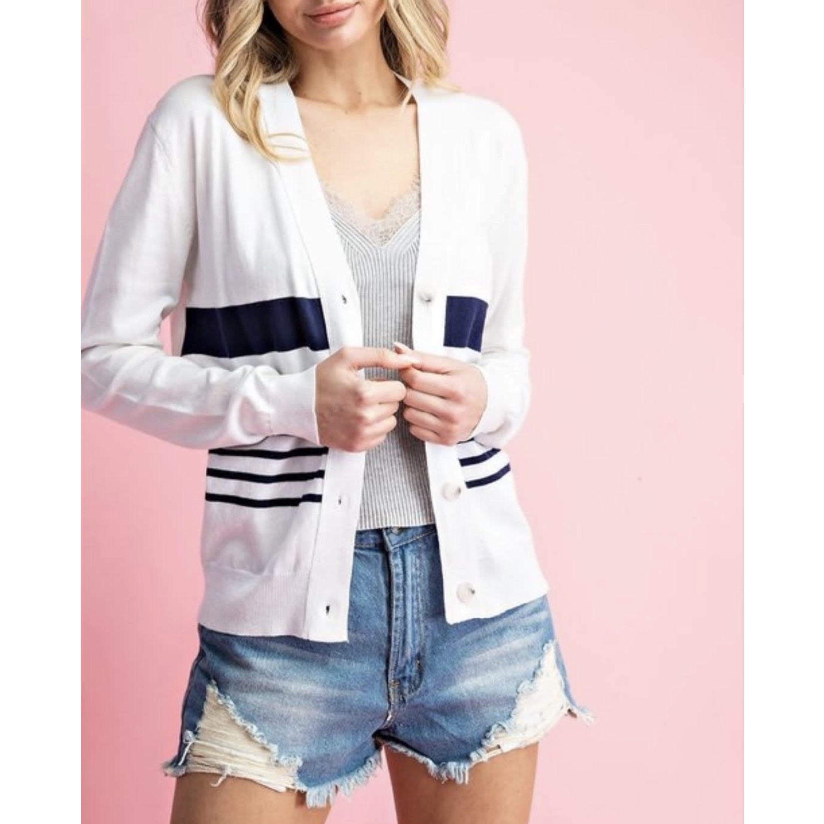 EE:Some Navy Striped Button-Up Cardigan