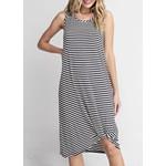 EE:Some Dress: Navy Striped Tank Midi+Side Hem Knot
