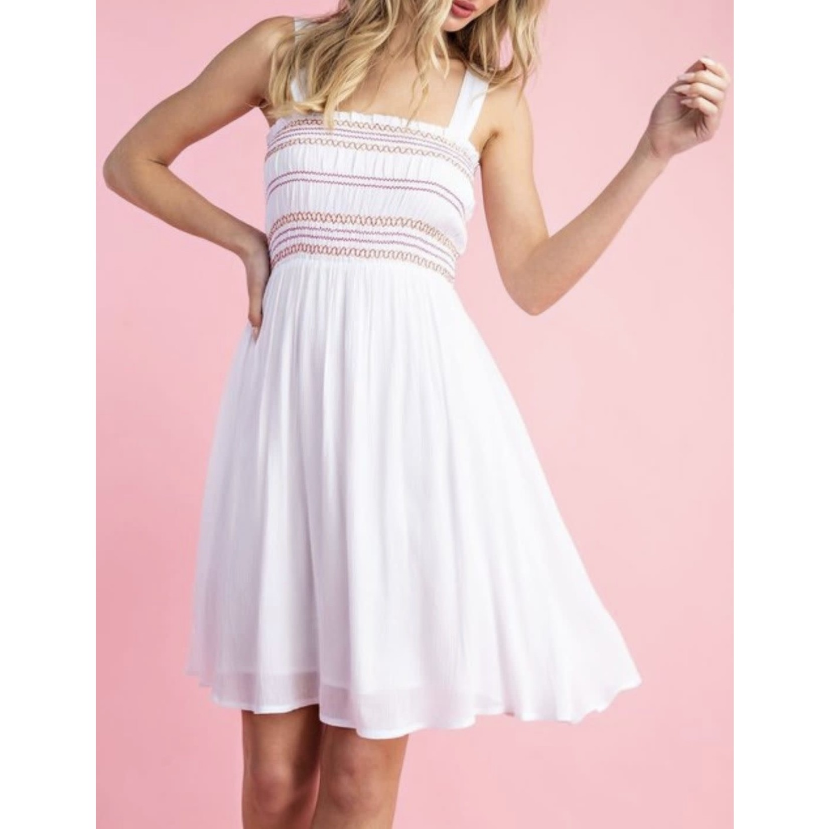 EE:Some Multi-Color Stitched Mock Chest Pleated Mini Dress