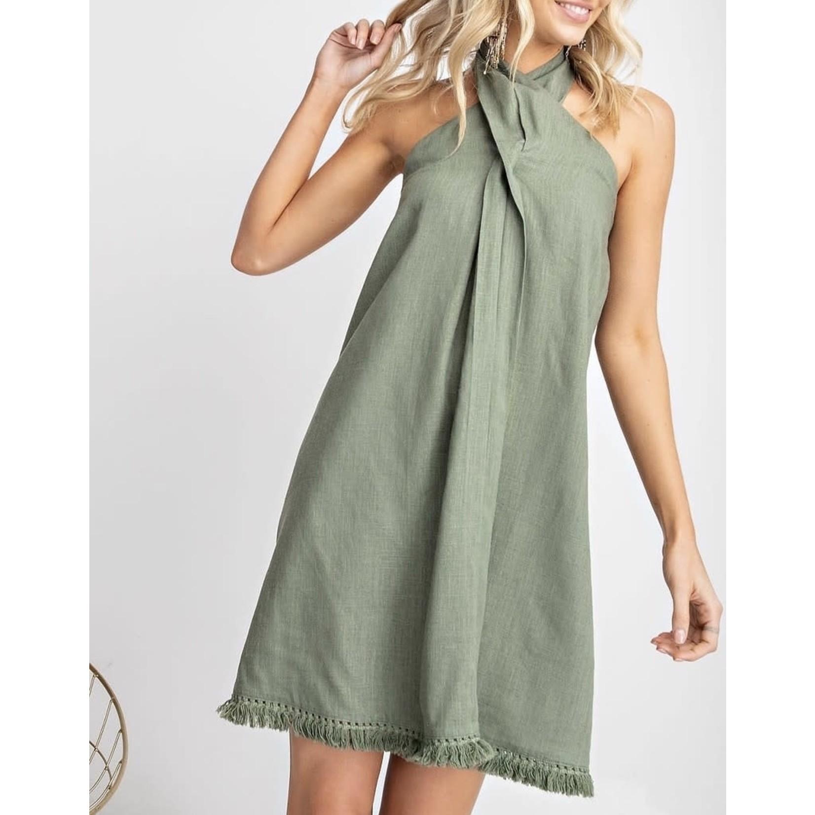Easel Faded Olive Linen Halter Dress